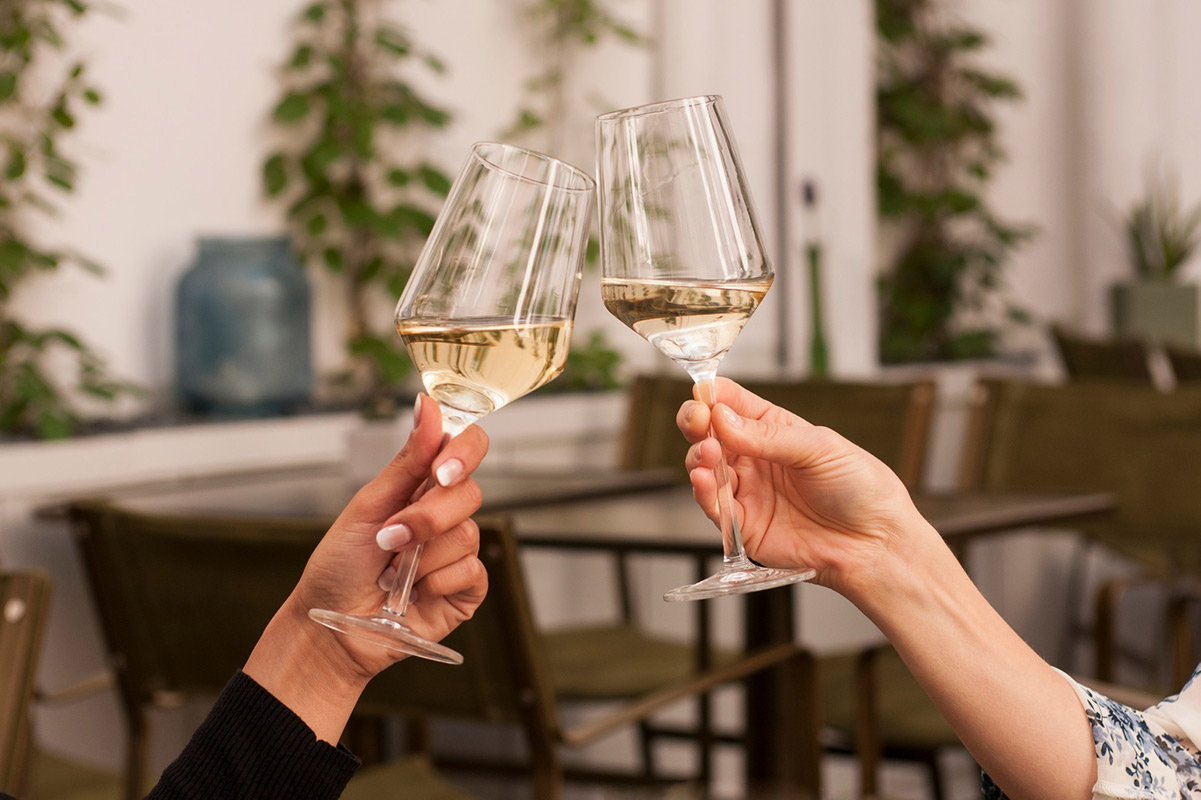 Two women toasting glasses of Sauvignon Blanc