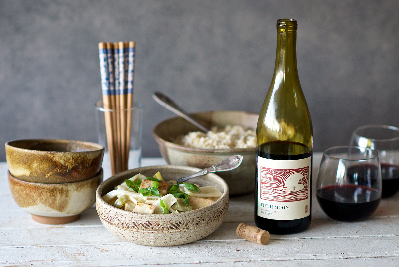 A vegetarian green curry with RD Winery's Red Blend