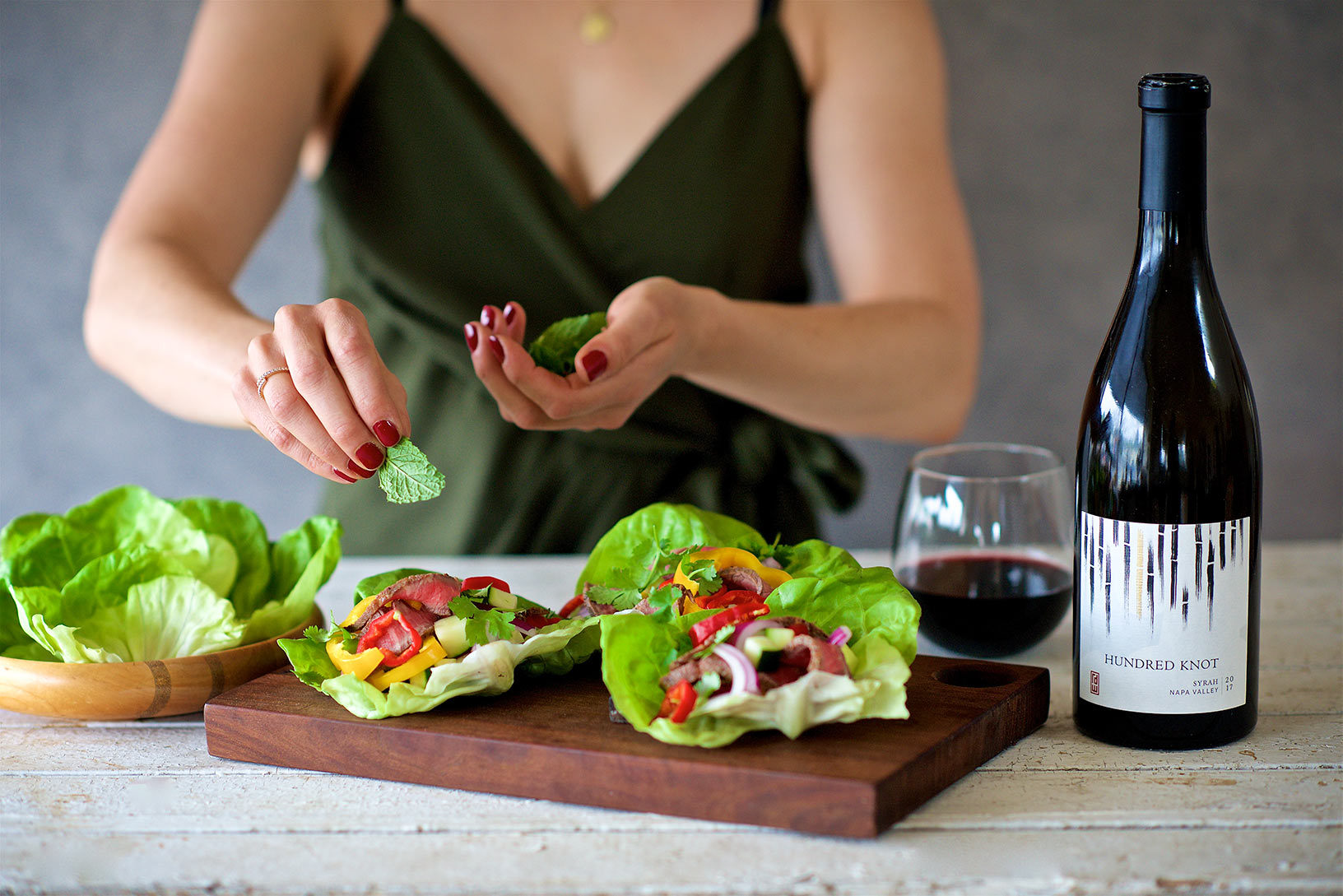 RD Winery Syrah and steak lettuce wraps