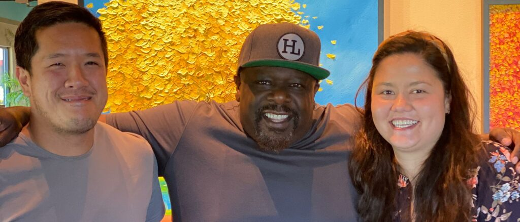 Mailynh and Raymond with Cedric the Entertainer.